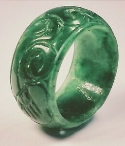 Antique 1920 S Chinese Hand Carved Apple Green Jade Ring Size 10 75