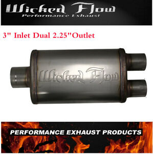 Wicked Flow Max High Performance Racing Muffler 3 Inlet Dual 2 25 Outlet
