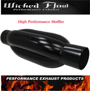 Black Wicked Flow High Performance Muffler 2 25 Inlet Outlet Kamikaze