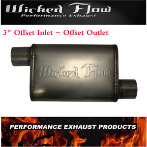 Wicked Flow Max High Performance Racing Muffler 3 Offset inlet Offset Outlet