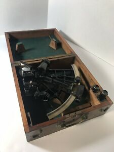 Antique Vintage Sextant By H G Blair Co Cardiff Wales In Original Wooden Box