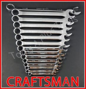 Craftsman Hand Tools 15pc Full Polish Sae Standard 12pt Combination Wrench Set