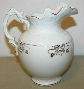 Antique Bonita V P Co 8 Porcelain Water Pitcher White With Gold Gilt