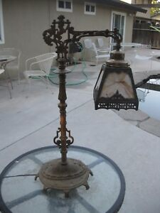 Awesome Heavy Bronze Antique Lion Bridge Arm Table Lamp Beige Slag Glass Shade