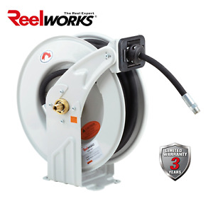 Reelworks Oil Hose Reel Retractable Spring Driven Steel Construction Pro Heavy