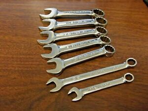 Snap On 7pc Sae Stubby Combo 12pt Wrench Set