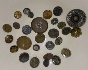 Lot Small Lg Antique Victorian Art Nouveau Metal Buttons Flowers Plants