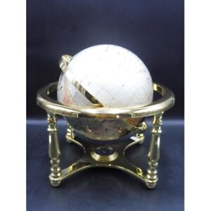 Gemstone Globe With Semi Precious Stones Mounted On A Brass Stand With Compass