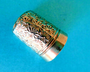 Antique Quality Silver Coated Steel Sewing Thimble Floral Design