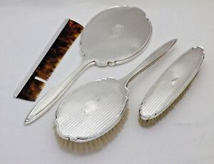 Vintage 4 Piece Solid Silver Dressing Table Vanity Set Brushes Comb Hand Mirror
