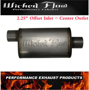 Wicked Flow Max High Performance Racing Muffler 2 25 offset inlet center Outlet