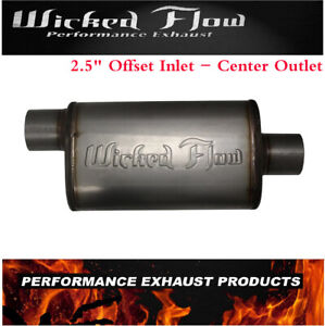 Wicked Flow Max High Performance Racing Muffler 2 5 offset inlet Center Outlet
