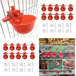 20pcs Chicken Drink Quail Waterer Bowls Bird Automatic Feeder Drinking Cups Red