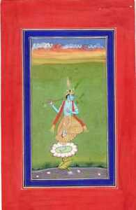 Beautiful Indian Miniature Painting Of Lord Krishna With Flute Real Gold Work