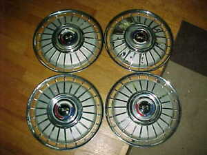 Vtg 1962 Original Ford Galaxie 14 Hubcaps Full Wheel Covers Fomoco Genuine Part