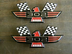 Ford 302 Crossed Flag Fender Emblems Red Mustang Fairlane Galaxie Falcon 1965