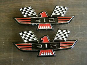 Ford 312 Crossed Flag Fender Emblems Red Mustang Fairlane Galaxie Falcon 1965