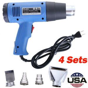 4pc Heat Gun Hot Air Gun Dual Temperature 4 Nozzles Power Tool 1500 W Heater Gun