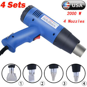 4sets Heat Gun Hot Air Wind Blower Dual Temperature 4 Nozzles Power 1500w Heater
