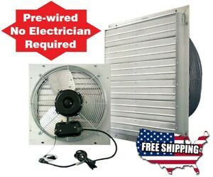 Attic Fans Wall Exhaust Fan 24 In Garage Shed Pole Barn Greenhouse Cooling Hvac