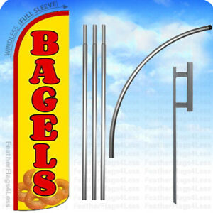Bagels Windless Swooper Flag Kit Feather Breakfast Bakery Banner Sign Yq