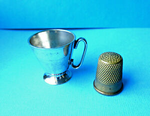 Antique Silver Coated Sewing Brass Thimble Holder Footed Tankard