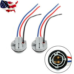 2pcs 1157 2357 Led Stop Brake Turn Light Bulb Socket Harness Wire Pig Tail Plug