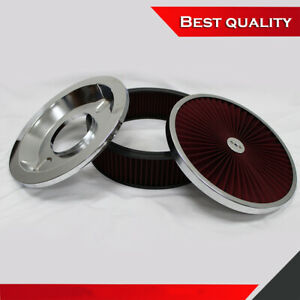 High Flow 14 X 4 Chrome Round Breath Thru Air Cleaner Top Washable Air Cleaner