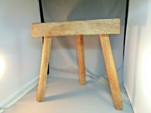 Antique Primitive Wood Milking Stool 3 Legs Strong Sturdy Farm Use Plants