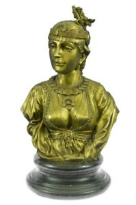 Handmade Museum Quality Extra Female Bronze Bust Sculpture Marble Statue Figure