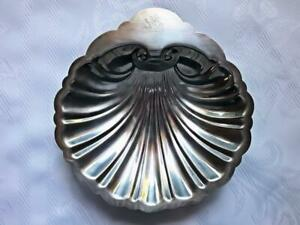 Antique Vintage English Silver Mfg Corp Clam Shell Silver Plate Serving Dish