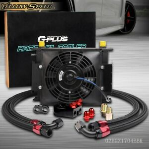 30 Row Engine Transmission 10an Oil Cooler Filter Adapter Kit Electric 7 Fan