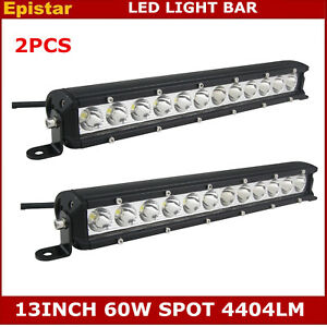 2x 13 inch 60w Led Light Bar Slim Spot Driving Lamp Offroad Truck 4wd Single Row