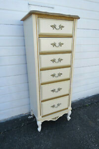 French Painted Tall Lingerie Chest With Gold Highlight 9763