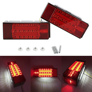 New Led Red Trailer Boat Rectangle Stud Stop Turn Tail Lights Waterproof Ip68