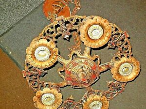 Antique Vintage 20s 30s Ceiling Light Fixture Art Nouveau Chandelier Original