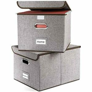 File Storage Boxes Collapsible Decorative Linen Filing Organizer Hanging Folders