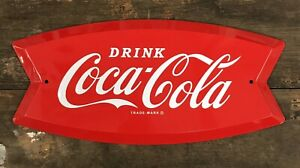 """Drink Coca-Cola"" © OFFICIAL Arciform Embossed Tin Metal Sign, 9""x19"""