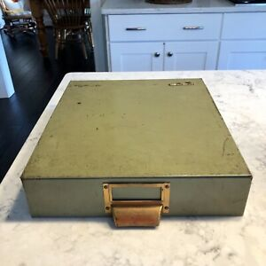 Vintage Flip Top File Box Industrial Green Metal Brass Label 12 X 13 5 X 3