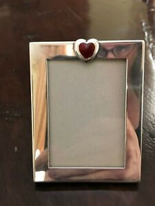 Tiffany Co Sterling Silver Picture Frame With Red Heart Made In Italy
