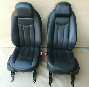 2004 2009 Cadillac Xlr Front Left Right Black Leather Bucket Seat W Air Bag