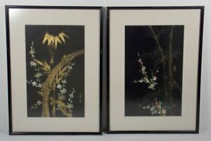 Pair Of Fine Chinese Signed Paintings On Silk Bamboo And Cherry Blossoms