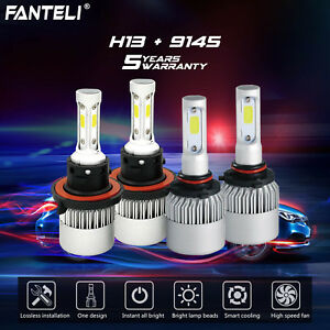 Combo H13 9145 Cree 6k Led Headlight High Low Beam Fog Lights 2600w 390000lm Kit