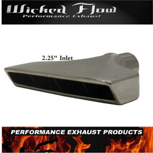 Rectangle 2 25 Inlet Exhaust Tip Polished Plated Stainless Steel Big Slant