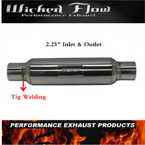 Universal Muffler 2 25 Inlet 2 25 Outlet Stainless Steel Weld on Resonator