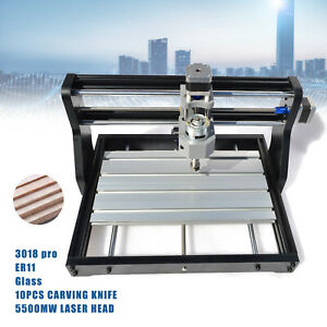3018pro Cnc Machine 3 Axis Router Engraving Pcb Wood Diy Mill 5500mw Laser Head