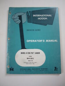 Ih International Hough H 120c Front end Wheel Pay Loader Tractor Operator Manual