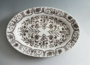 Antique T R Boote Lahore Brown Serving Platter Oval 17 Transferware Ironstone