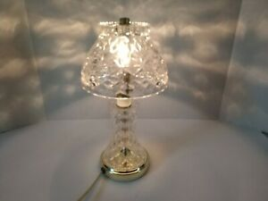 Vintage Clear Glass Cut Crystal Dome Lamp Vanity Table Boudoir Night Light