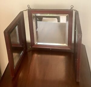 Victorian Tri Fold Travelers Shaving Mirror Brass Wood Frame Beveled Footed